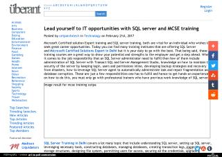 Lead yourself to IT opportunities with SQL server and MCSE training