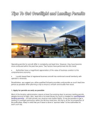 Get Overflight And Landing Permits