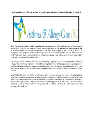 Asthma Doctor of New Jersey is a call away with the Virtual Allergist on Board