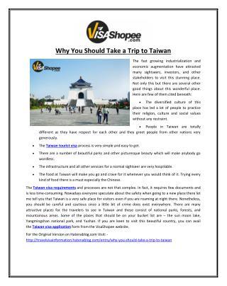 Why You Should Take a Trip to Taiwan?