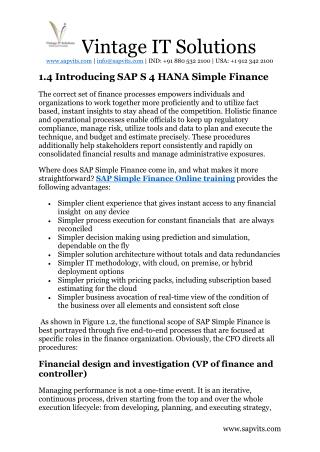 Best SAP S4 HANA Simple Finance Online Course Training