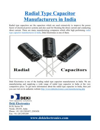 Radial Type Capacitor Manufacturers in India
