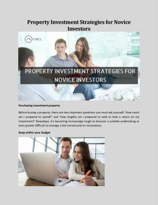 Property Investment Strategies for Novice Investors