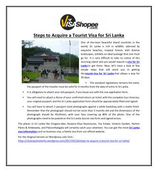 Steps to Acquire a Tourist Visa for Sri Lanka