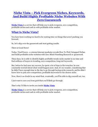 Niche Vista review- Niche Vista $27,300 bonus & discount