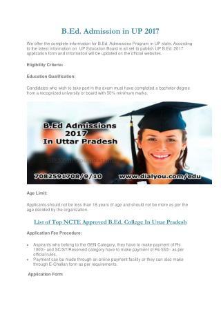 B.Ed. Admission in UP PDF