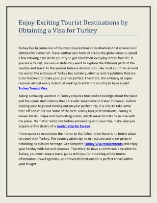 Enjoy Exciting Tourist Destinations by Obtaining a Visa for Turkey