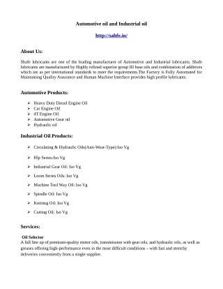 Automotive oil supplier - shafe.in