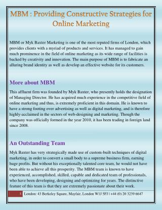 MBM for the best of Online Marketing Strategies