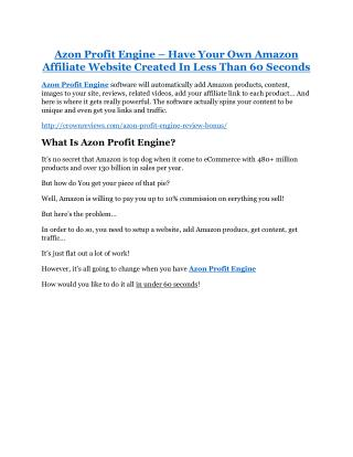 Azon Profit Engine review and sneak peek demo