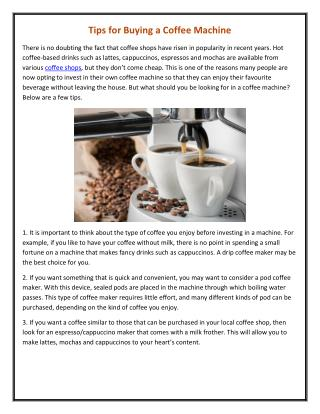 Tips for Buying a Coffee Machine