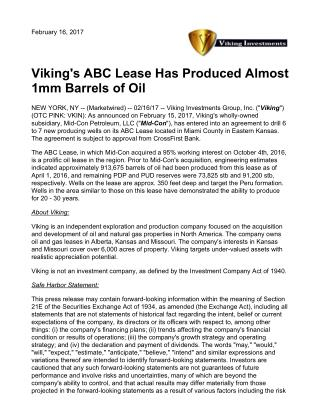 VIKING'S ABC LEASE HAS PRODUCED ALMOST 1MM BARRELS OF OIL