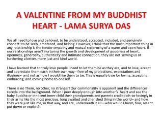 A VALENTINE FROM MY BUDDHIST HEART - LAMA SURYA DAS