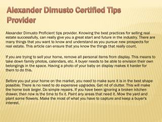 Alexander Dimusto Certified Tips Provider