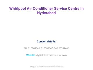 Whirlpool Air Conditioner Service Center in Hyderabad
