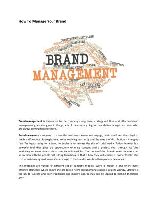 How To Manage Your Brand