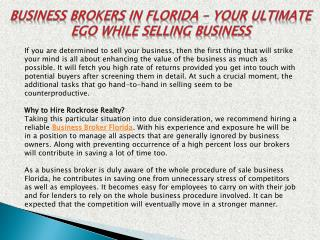 Reliable Business Broker In  Florida  |  Hire Rockrose Realty