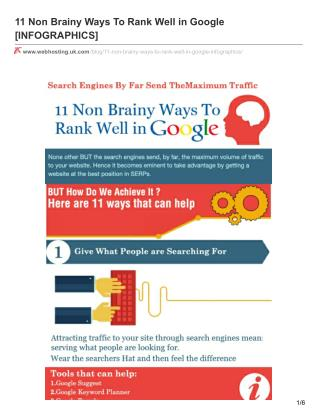 11 Non Brainy Ways To Rank Well in Google
