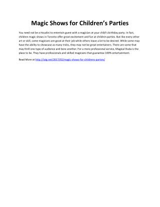 Magic Shows for Children's Parties