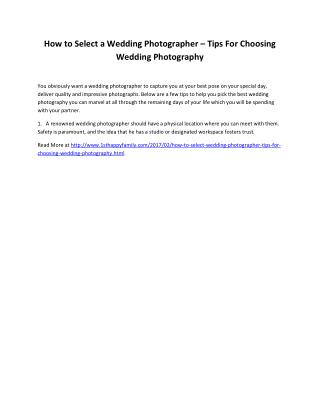 How to Select a Wedding Photographer – Tips For Choosing Wedding Photography