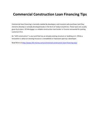 Commercial Construction Loan Financing Tips
