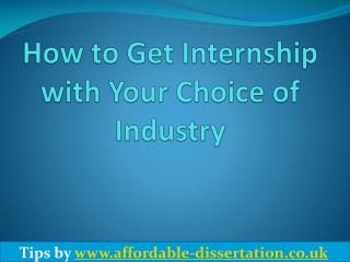 How to Get Internship in Your Choice of Industry