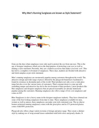 Why Men's Running Sunglasses are known as Style Statement?