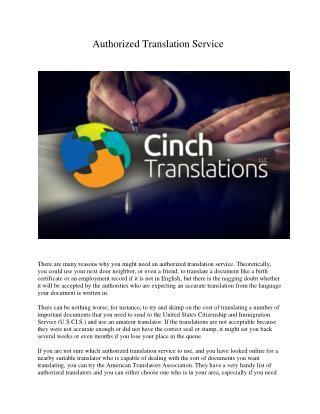 Authorized Translation Service