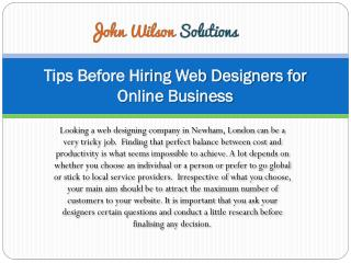 Tips Before Hiring Web Designers for Online Business