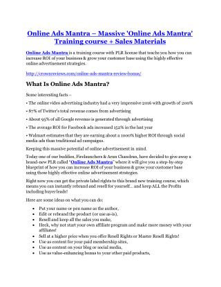 Online Ads Mantra Review-$32,400 bonus & discount