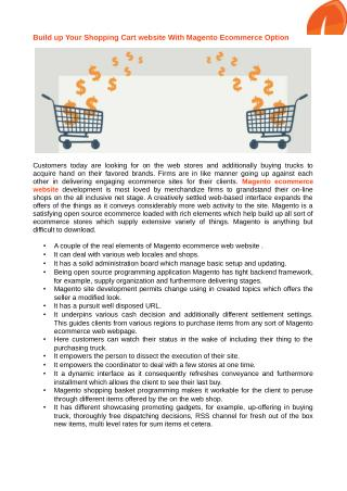 Shopping cart software solution for magento ecommerce