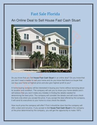 An Online Deal to Sell House Fast Cash Stuart