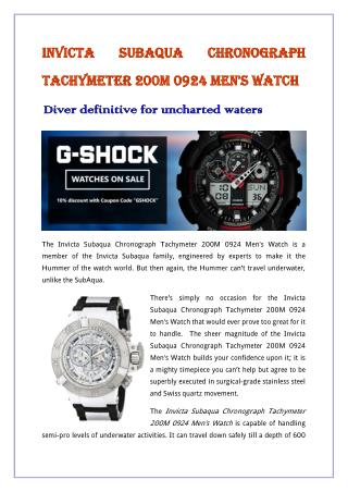 Invicta Subaqua Chronograph Tachymeter 200M 0924 Men's Watch
