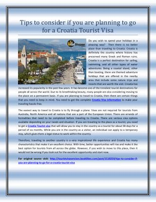 Tips to consider if you are planning to go for a Croatia Tourist Visa
