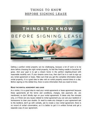 THINGS TO KNOW BEFORE SIGNING LEASE