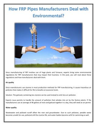How FRP Pipes Manufacturers Deal with Environmental?