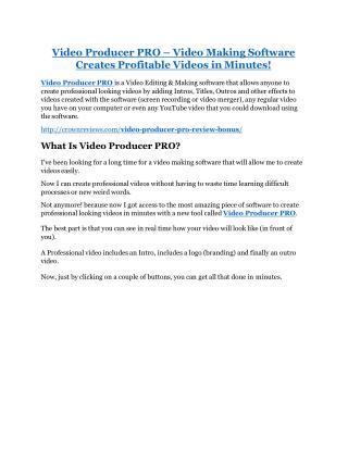 Video Producer PRO review & massive  100 bonus items