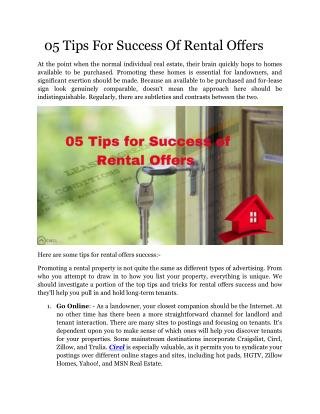 05 Tips For Success Of Rental Offers