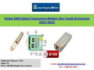 New Report Study on Global 100G Optical Transceivers Market Forecast to 2017-2021