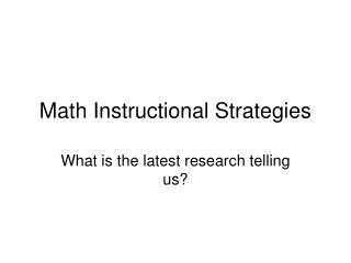 Math Instructional Strategies