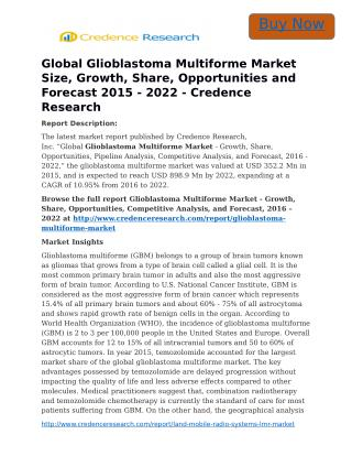 Global Glioblastoma Multiforme Market Size, Growth, Share, Opportunities and Forecast 2015 - 2022 - Credence Research