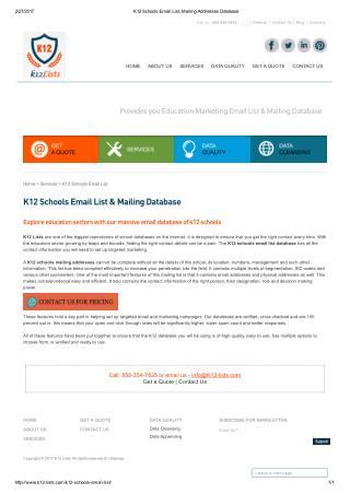 K12 School Mailing Lists