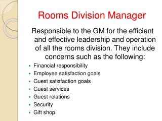 Rooms Division Manager