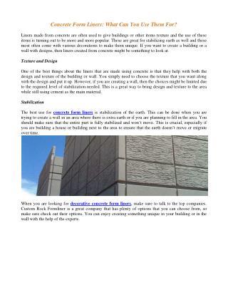 Decorative Concrete Form Liners