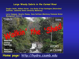 Large Woody Debris in the Carmel River   Douglas Smith, Kelleen Harter, Lisa Grady  Paul Huntington Watershed Institute,