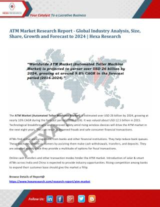 ATM Market Share, Size, Analysis, Growth, Trends and Forecasts, 2016 to 2024 | Hexa Research