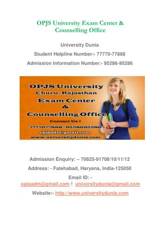 OPJS University Exam Center & Counseling Office