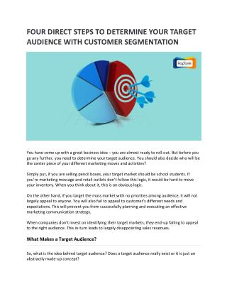 Four Direct Steps to Determine Your Target Audience with Customer Segmentation