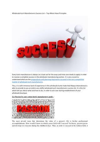 Wholesale Kurti Manufacturers Success List – Top 4Must Have Principles