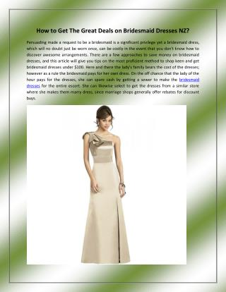 How to Get The Great Deals on Bridesmaid Dresses NZ?
